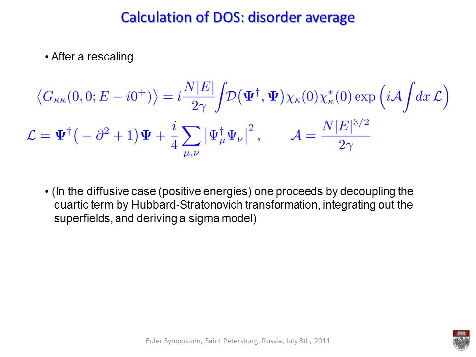 Calculation of DOS: disorder average