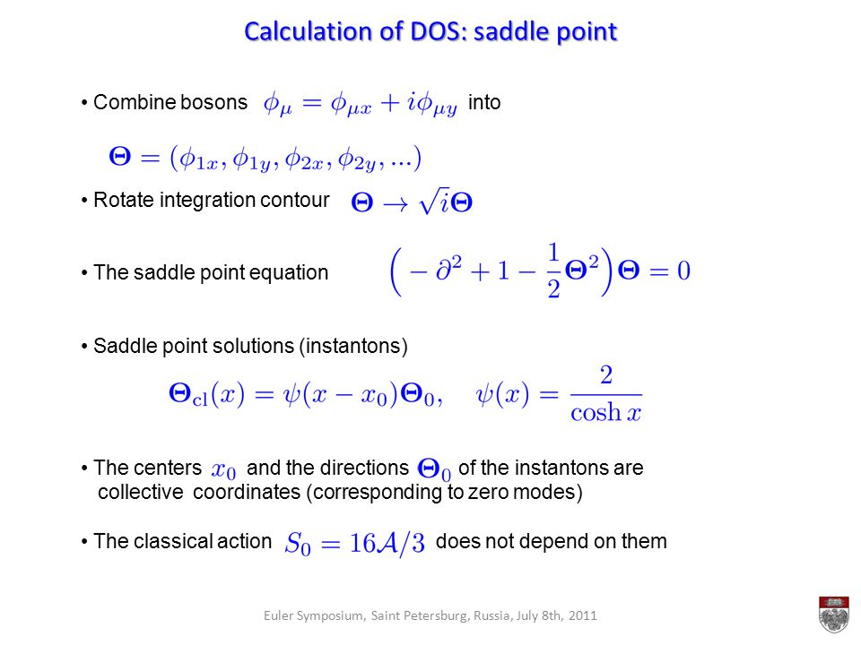 Calculation of DOS: saddle point