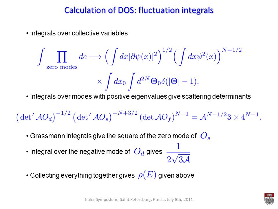 Calculation of DOS: fluctuation integrals