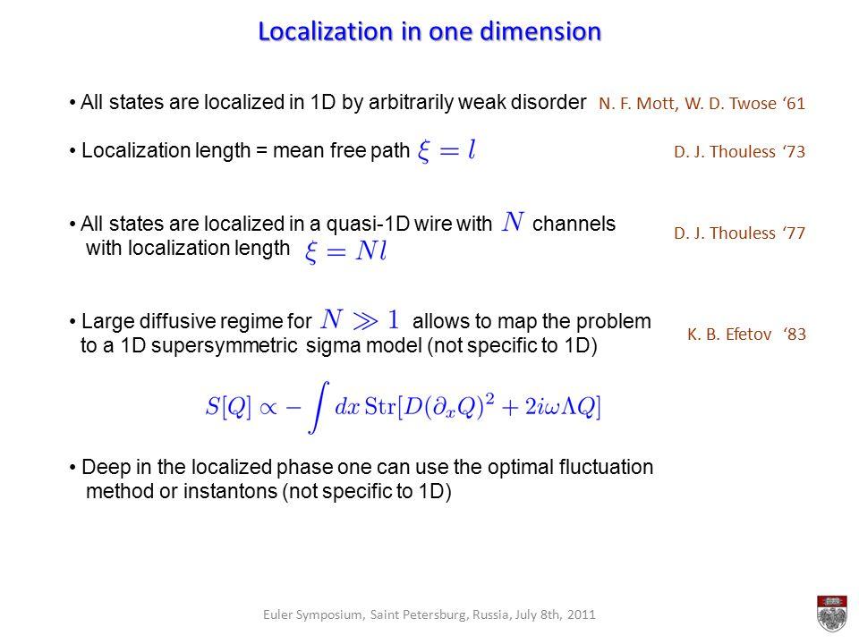Localization in one dimension