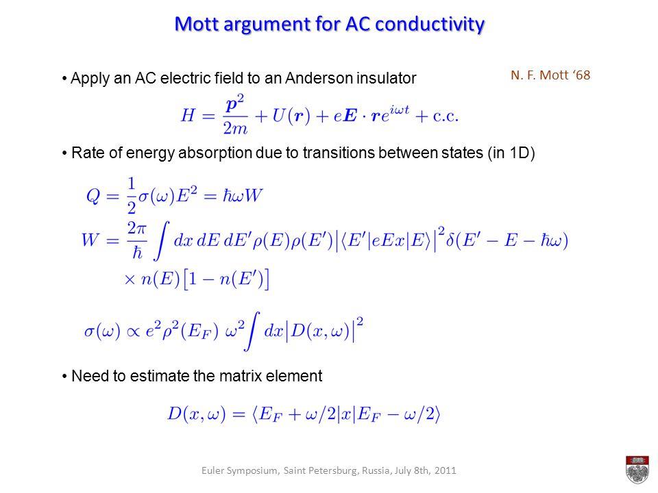 Mott argument for AC conductivity