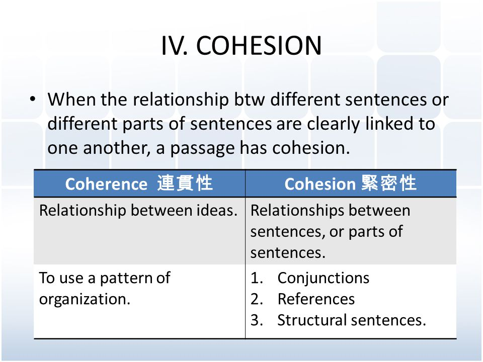 IV. COHESION When the relationship btw different sentences or different parts of sentences are clearly linked to one another, a passage has cohesion.
