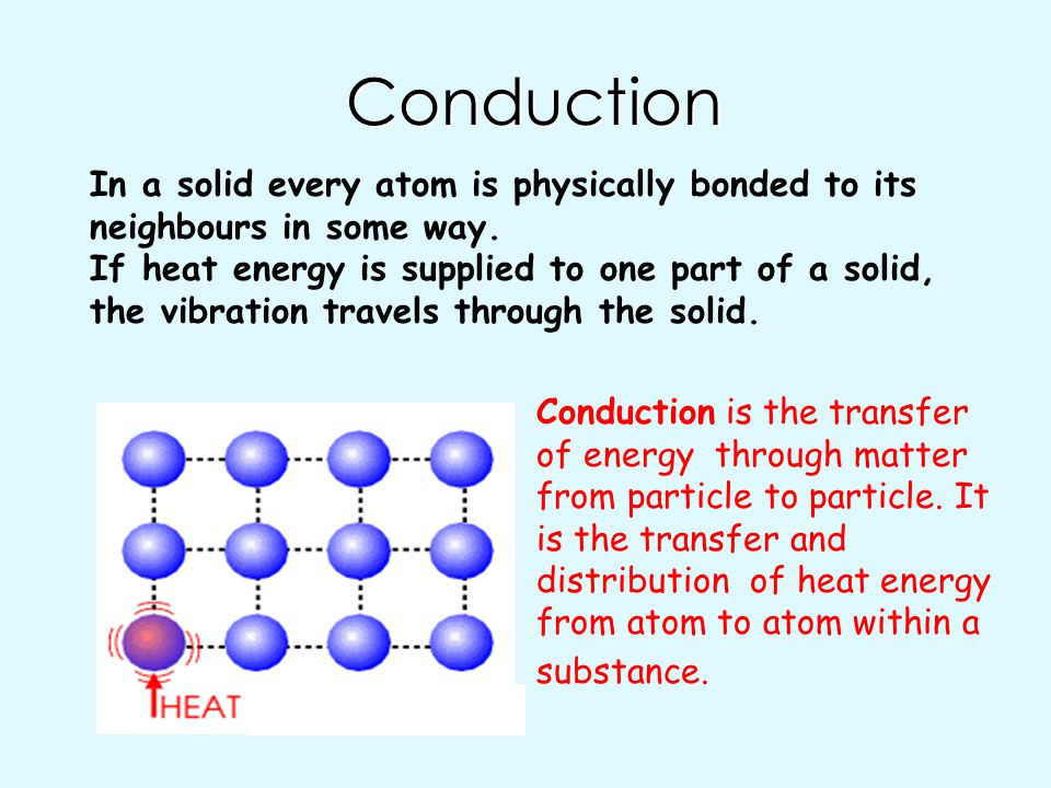 Conduction In a solid every atom is physically bonded to its neighbours in some way.