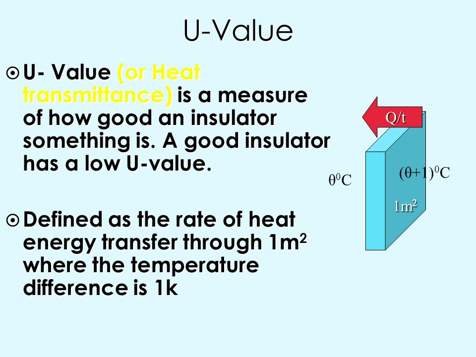 U-Value U- Value (or Heat transmittance) is a measure of how good an insulator something is. A good insulator has a low U-value.