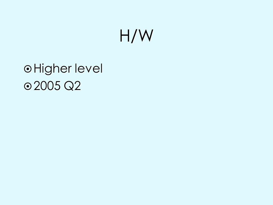 H/W Higher level 2005 Q2