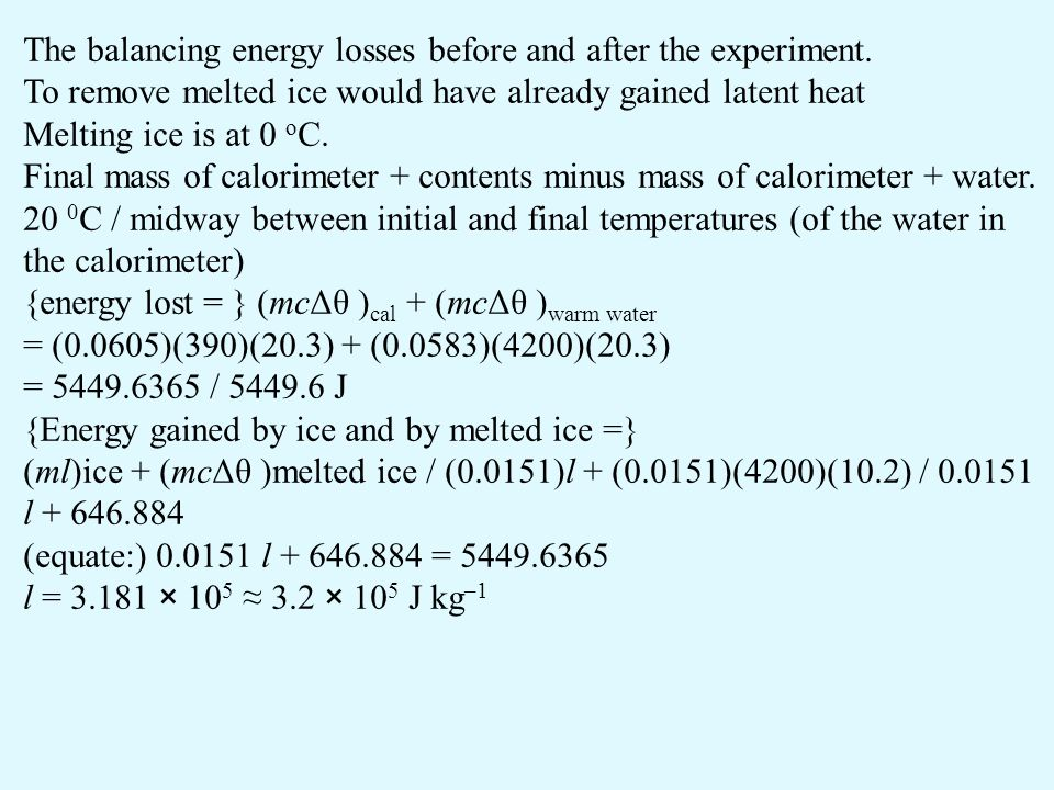 The balancing energy losses before and after the experiment.
