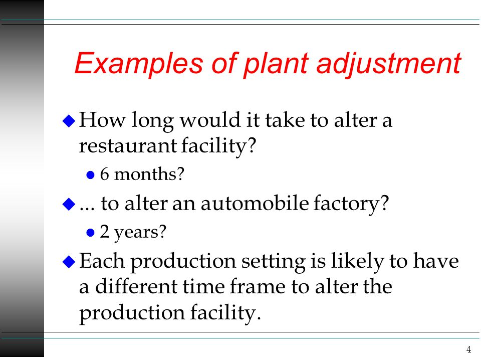 Examples of plant adjustment