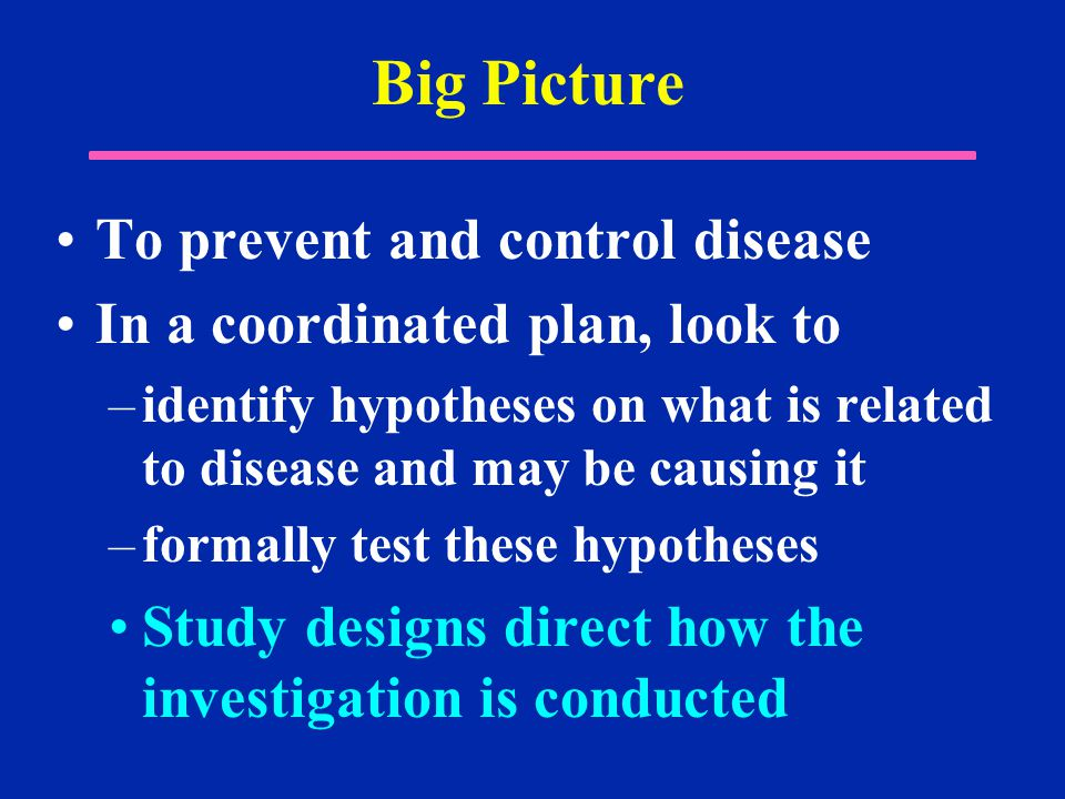 Big Picture To prevent and control disease