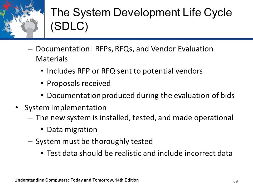 The System Development Life Cycle (SDLC)