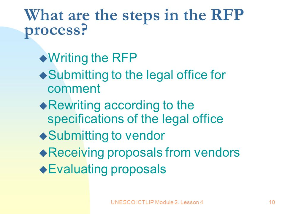 What are the steps in the RFP process