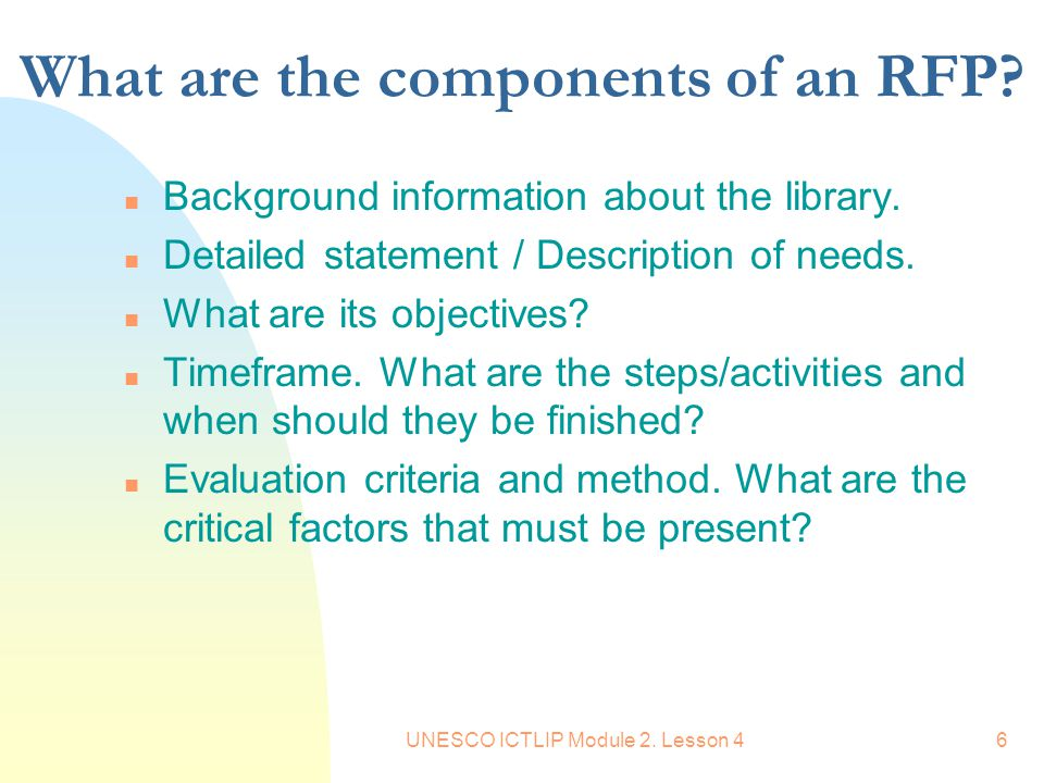 What are the components of an RFP