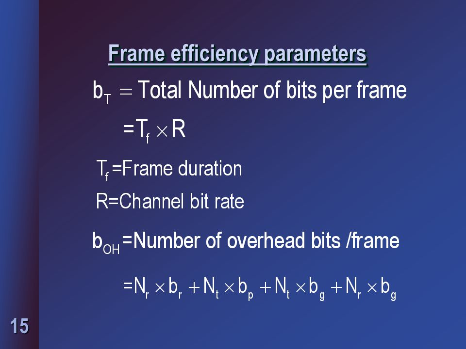 Frame efficiency parameters