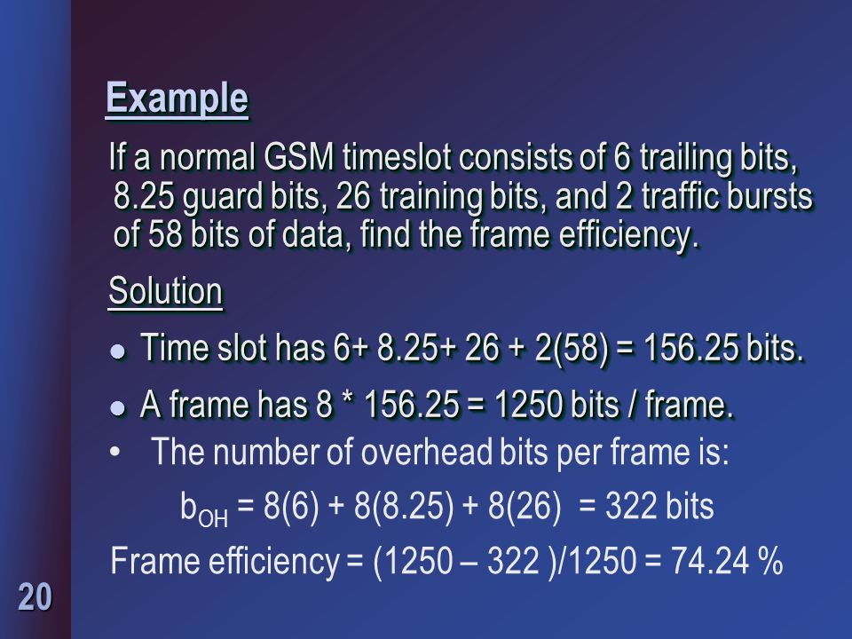 Frame efficiency = (1250 – 322 )/1250 = 74.24 %