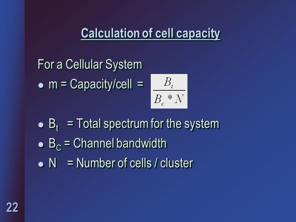 Calculation of cell capacity