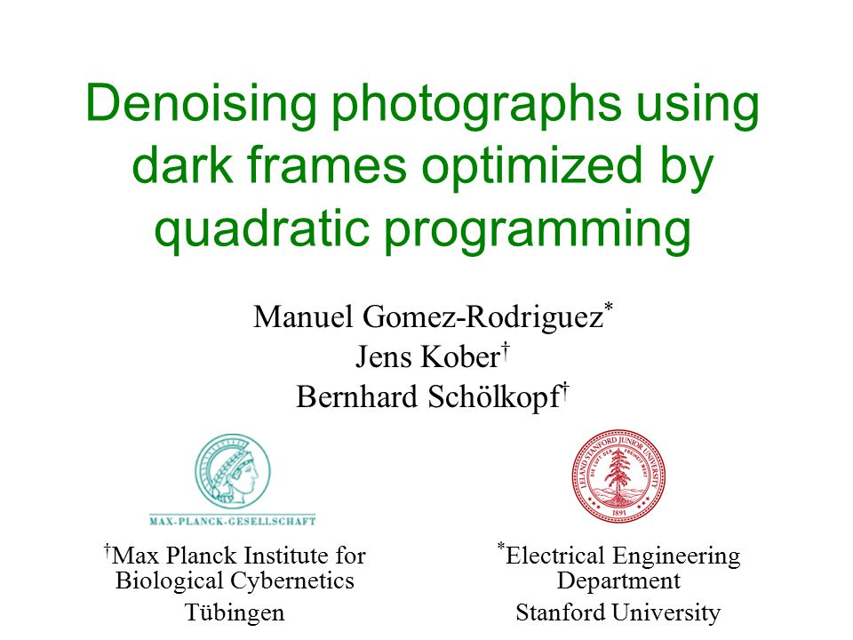 Denoising photographs using dark frames optimized by quadratic programming