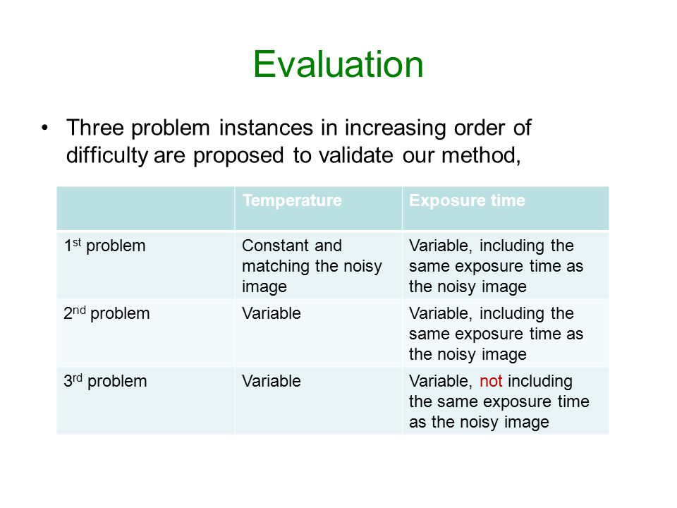 Evaluation Three problem instances in increasing order of difficulty are proposed to validate our method,