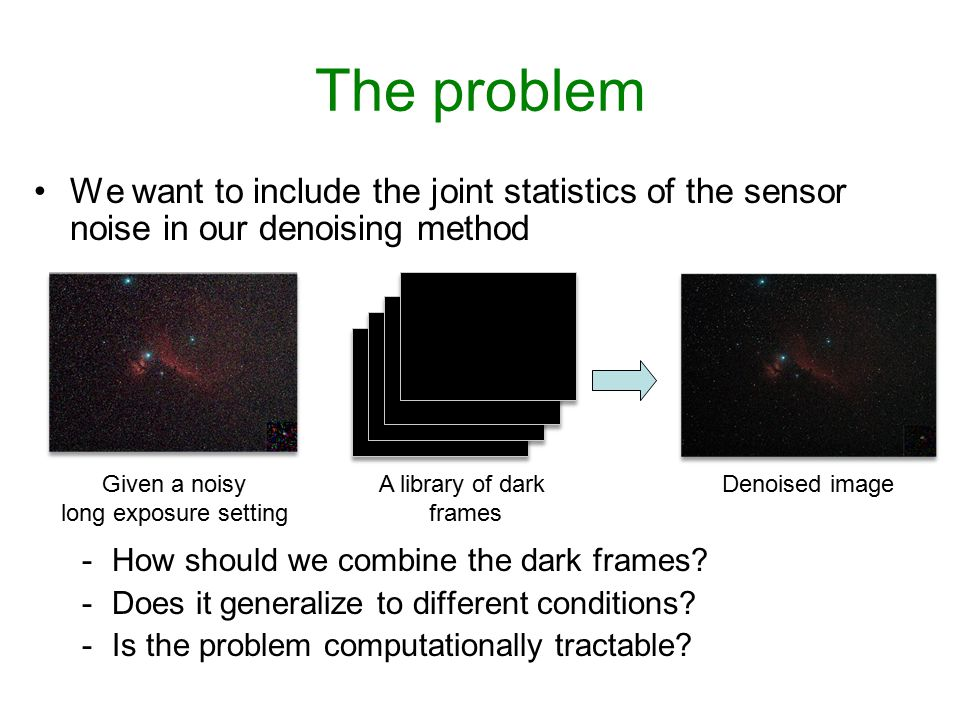 The problem We want to include the joint statistics of the sensor noise in our denoising method. How should we combine the dark frames