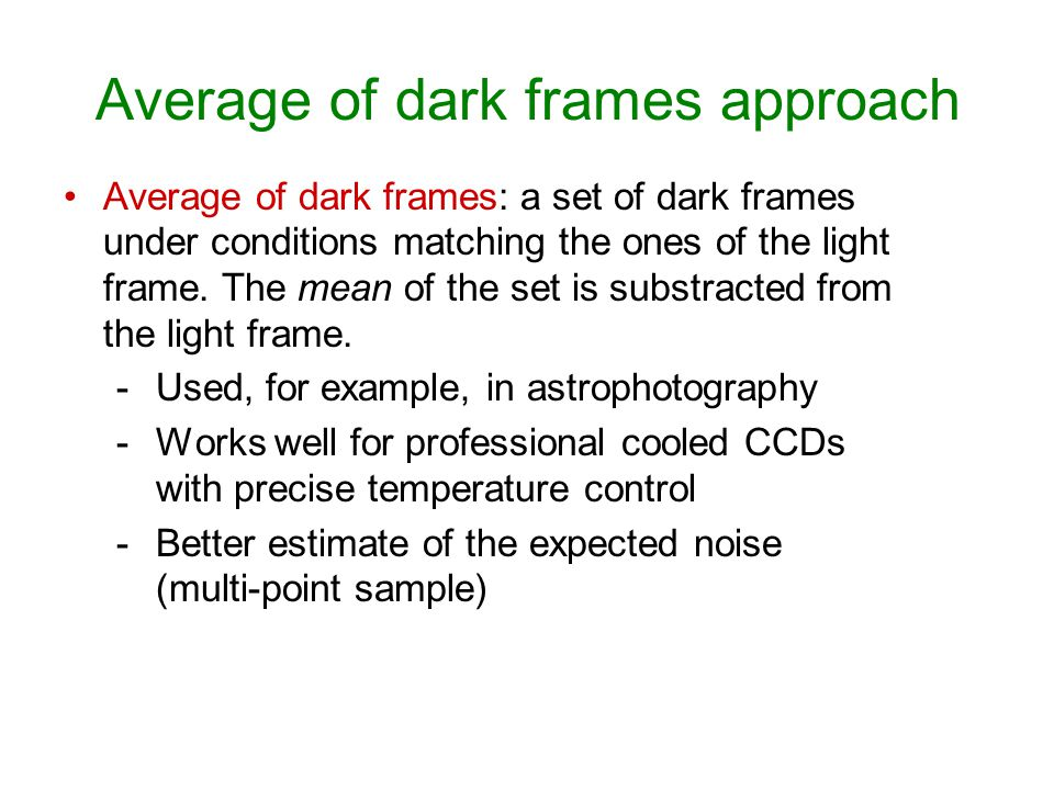 Average of dark frames approach