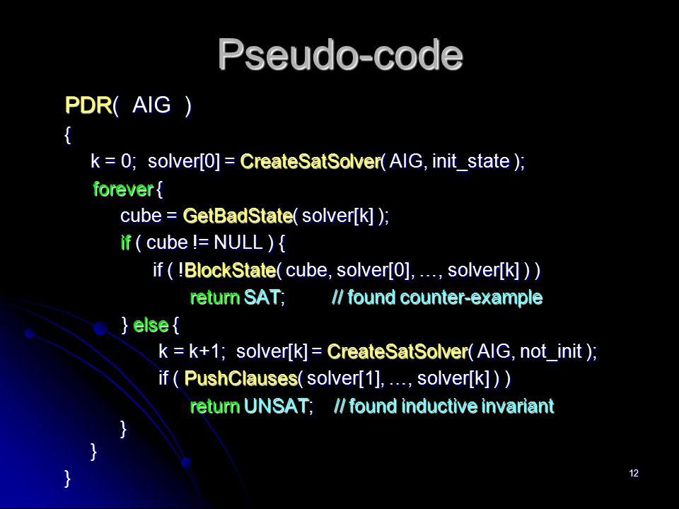 Pseudo-code PDR( AIG ) {
