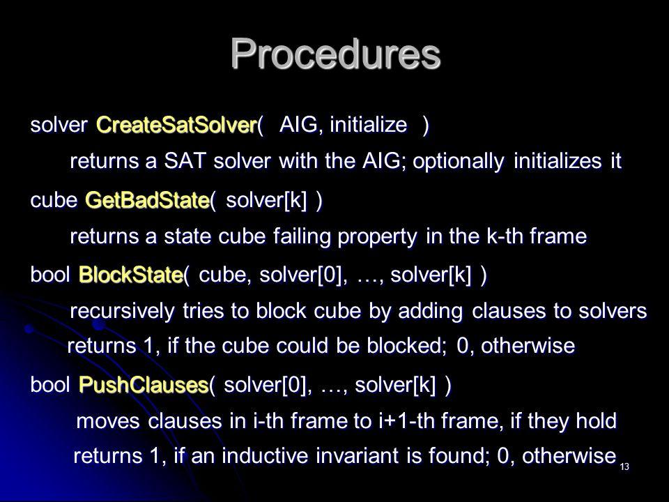 Procedures solver CreateSatSolver( AIG, initialize )