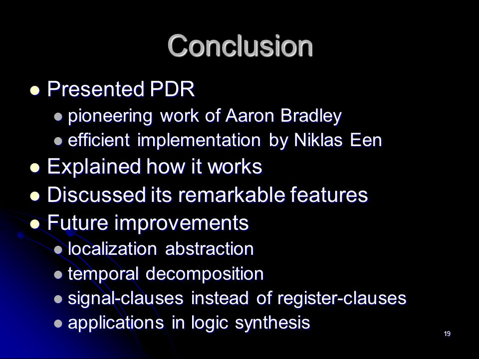 Conclusion Presented PDR Explained how it works