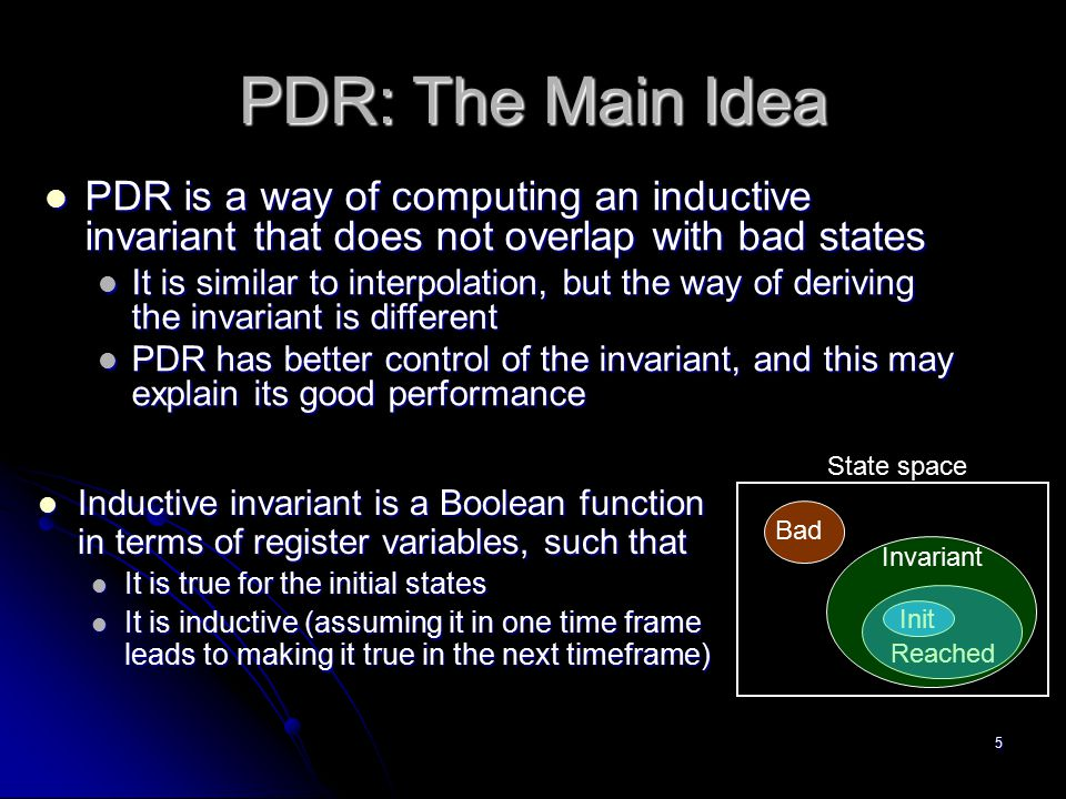 PDR: The Main Idea PDR is a way of computing an inductive invariant that does not overlap with bad states.