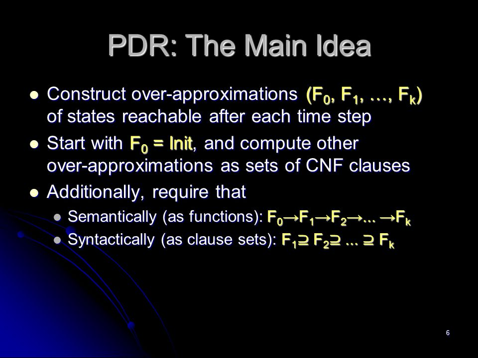 PDR: The Main Idea Construct over-approximations (F0, F1, …, Fk) of states reachable after each time step.