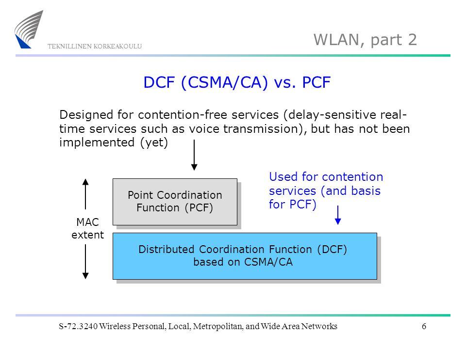 DCF (CSMA/CA) vs. PCF