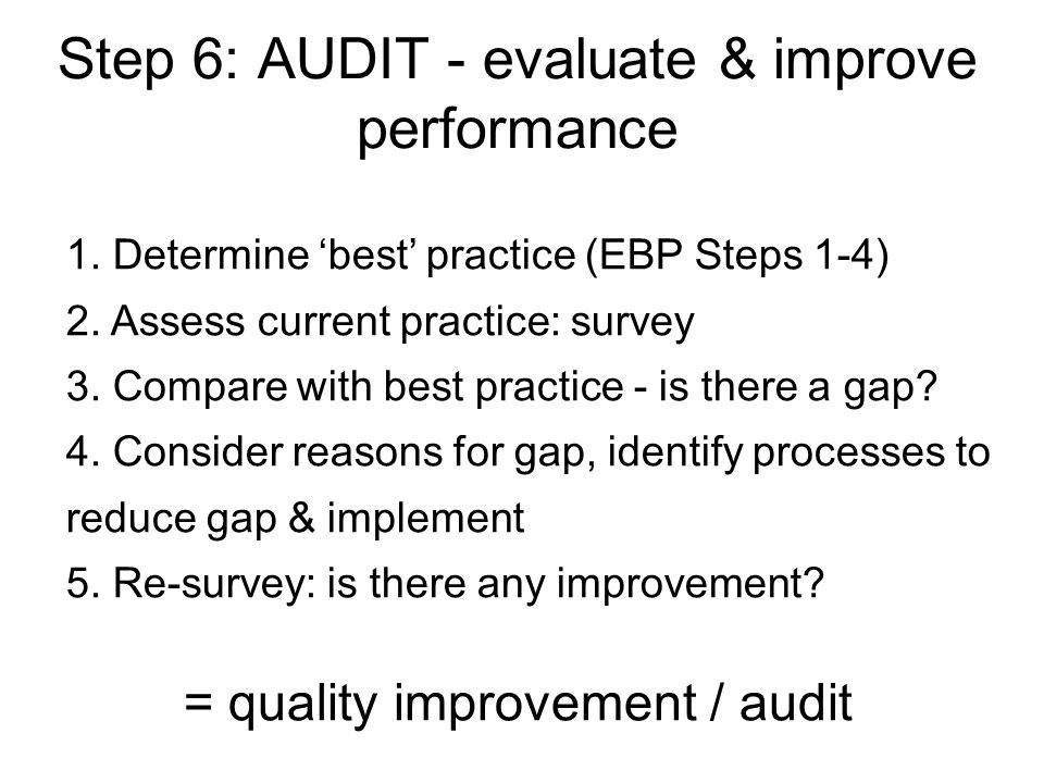Step 6: AUDIT - evaluate & improve performance