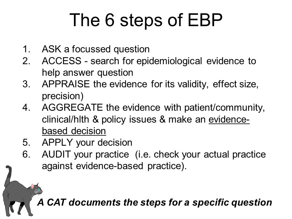 The 6 steps of EBP ASK a focussed question
