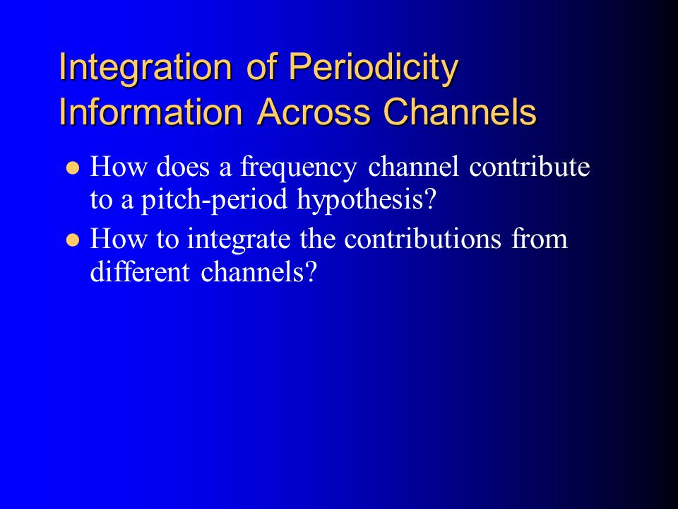 Integration of Periodicity Information Across Channels