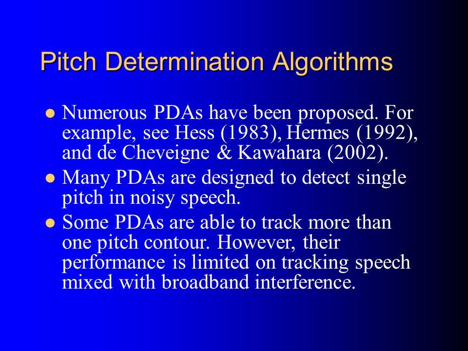 Pitch Determination Algorithms