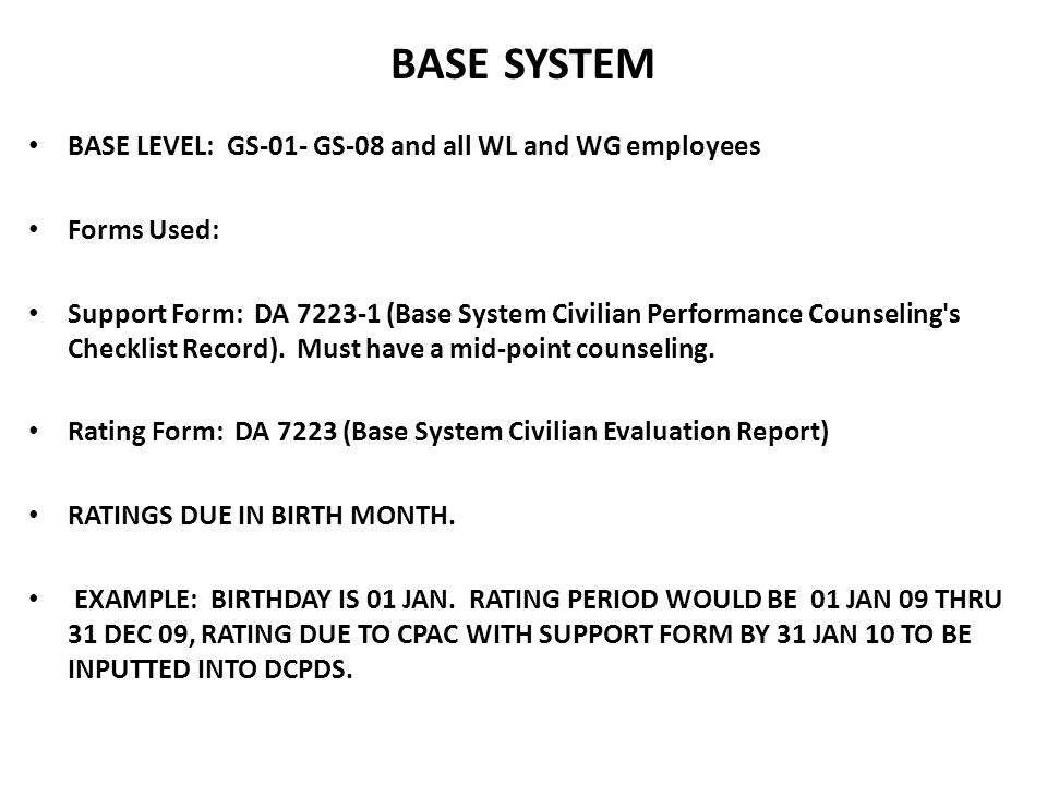BASE SYSTEM BASE LEVEL: GS-01- GS-08 and all WL and WG employees