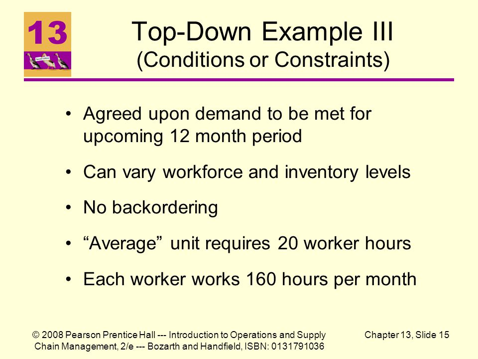 Top-Down Example III (Conditions or Constraints)