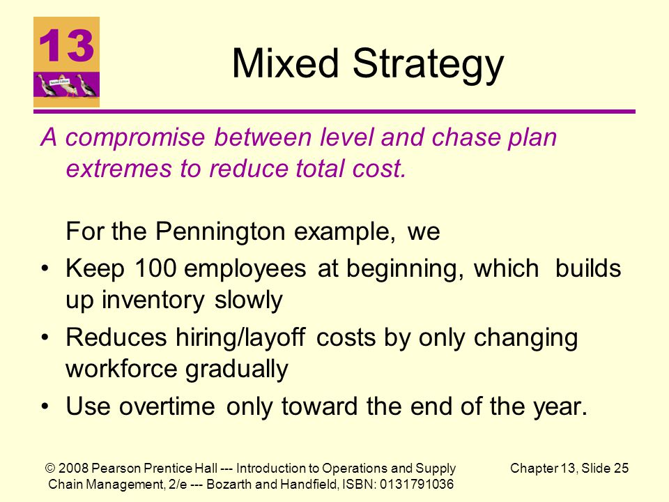 Mixed Strategy A compromise between level and chase plan extremes to reduce total cost. For the Pennington example, we.
