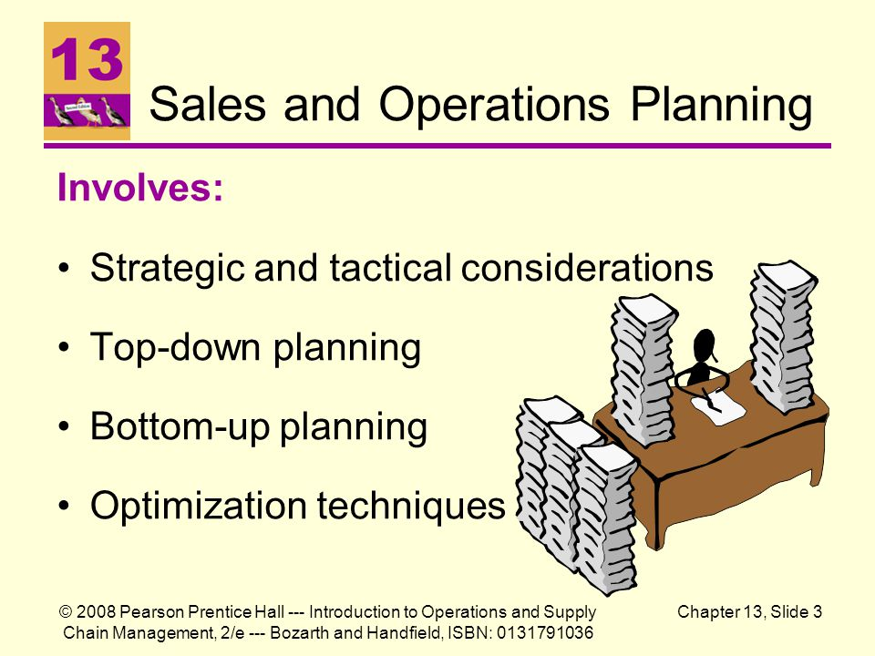 sales and operation planning (this is an ongoing column in the journal, which is intended to give a brief view on a potential topic of interest to practitioners of business forecasting.
