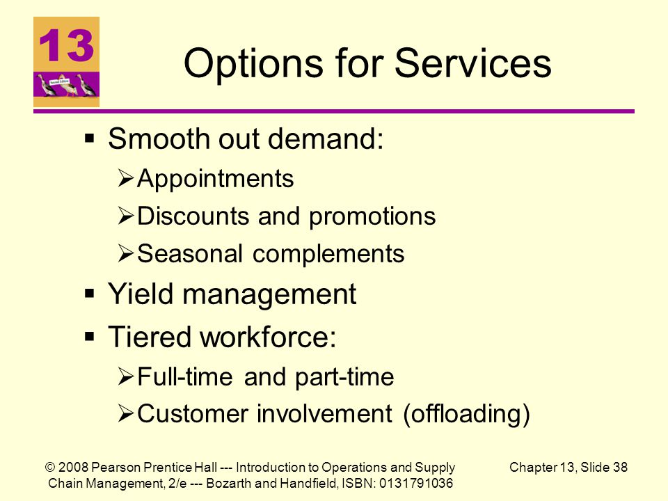 Options for Services Smooth out demand: Yield management