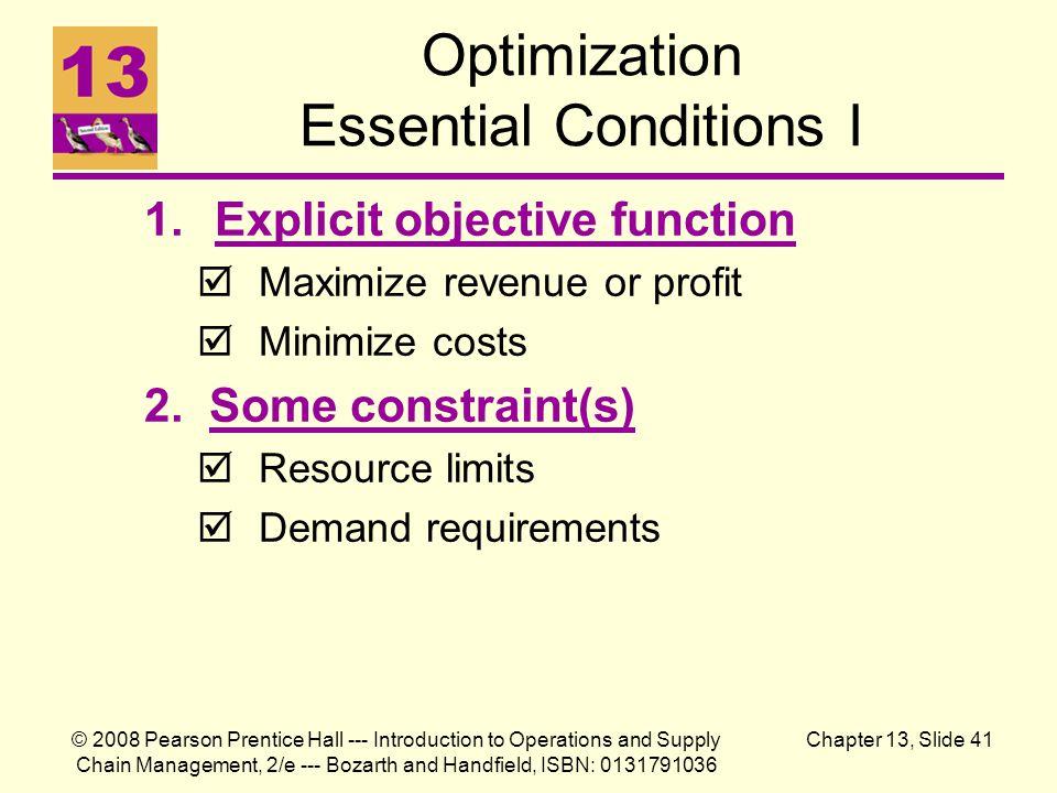 Optimization Essential Conditions I