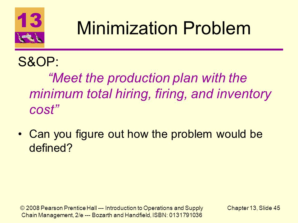 Minimization Problem S&OP: Meet the production plan with the minimum total hiring, firing, and inventory cost