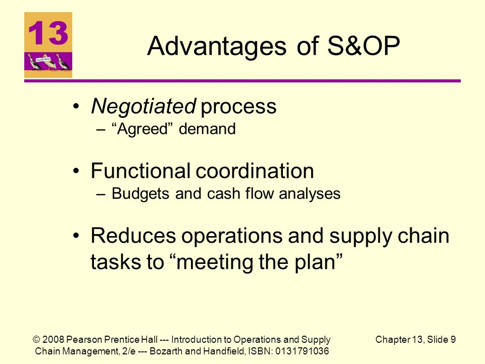 Advantages of S&OP Negotiated process Functional coordination