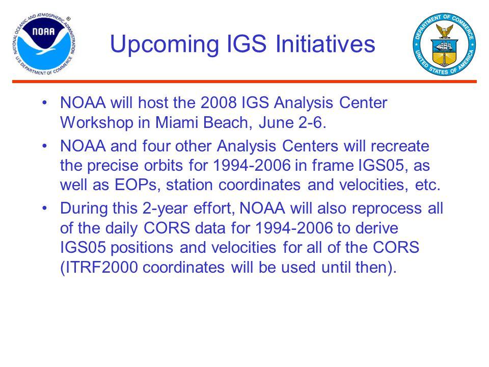 Upcoming IGS Initiatives