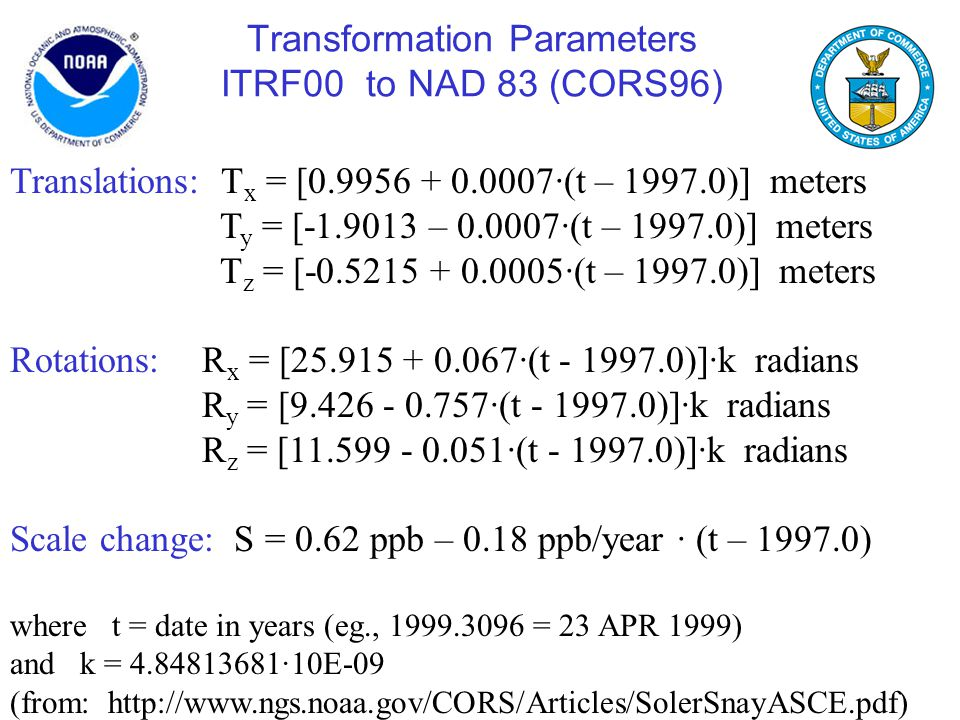 Transformation Parameters ITRF00 to NAD 83 (CORS96)