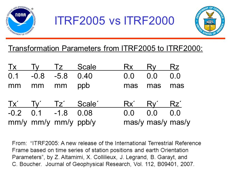 ITRF2005 vs ITRF2000 Transformation Parameters from ITRF2005 to ITRF2000: Tx Ty Tz Scale Rx Ry Rz.