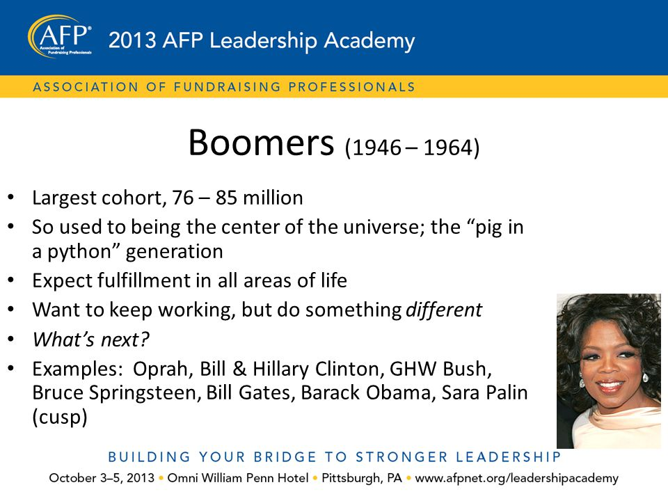 Boomers (1946 – 1964) Largest cohort, 76 – 85 million