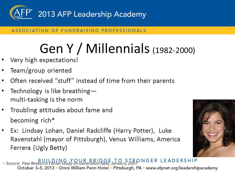 Gen Y / Millennials (1982-2000) Very high expectations!