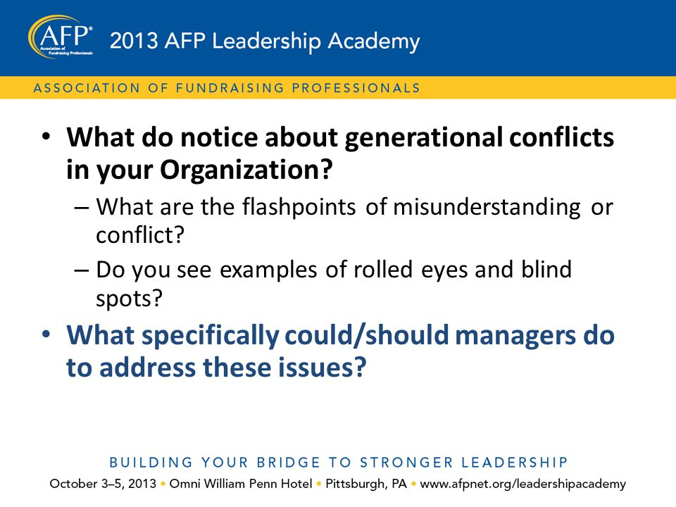 What do notice about generational conflicts in your Organization
