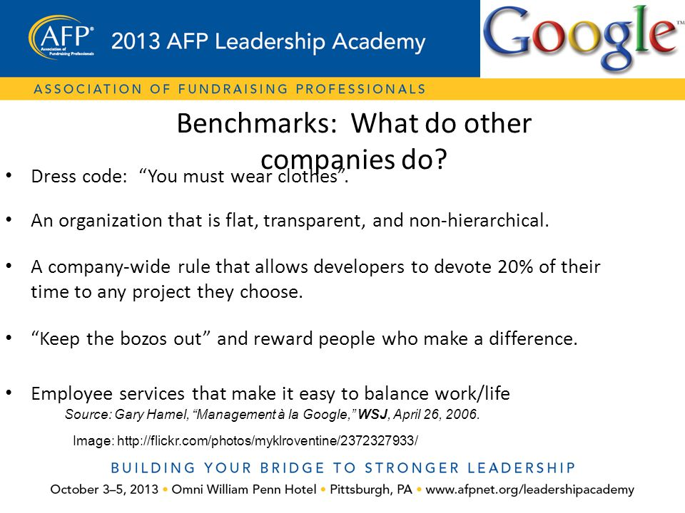 Benchmarks: What do other companies do