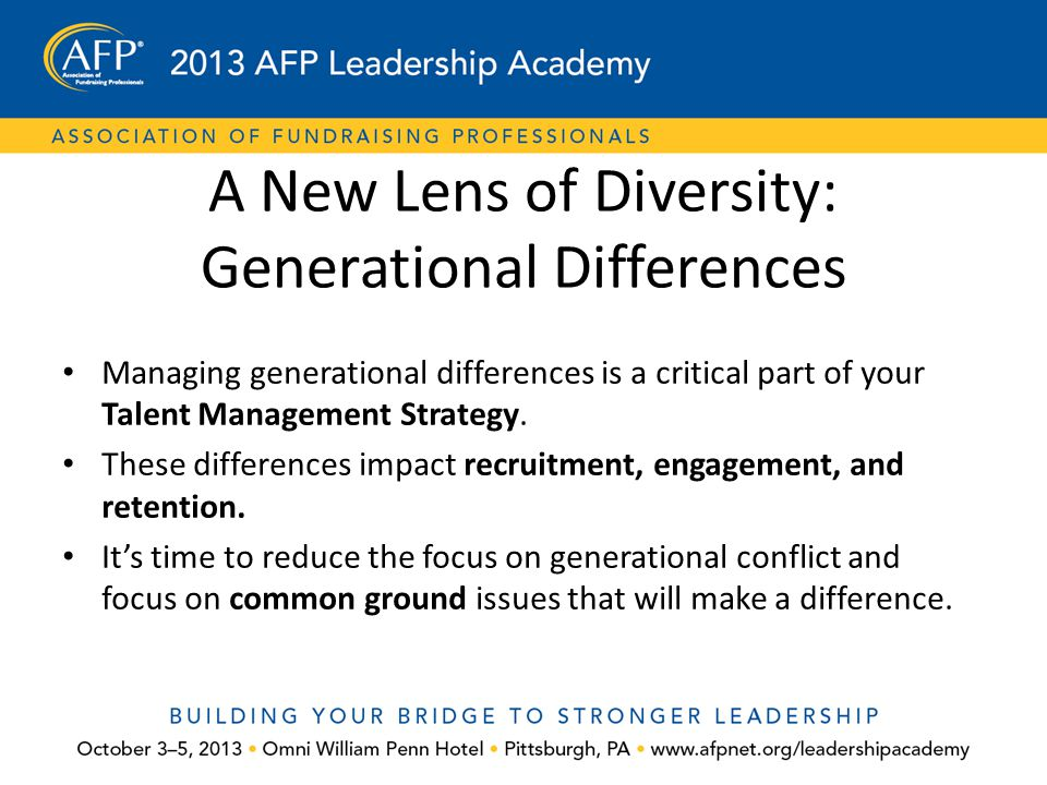 A New Lens of Diversity: Generational Differences