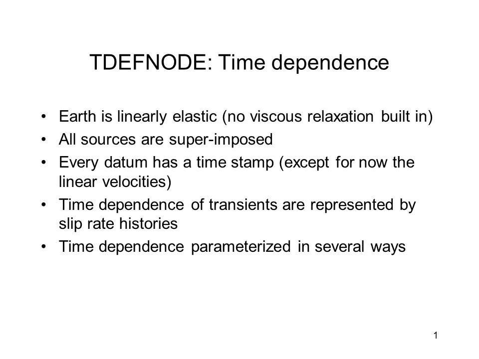 TDEFNODE: Time dependence