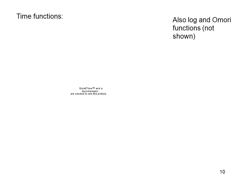 Time functions: Also log and Omori functions (not shown)